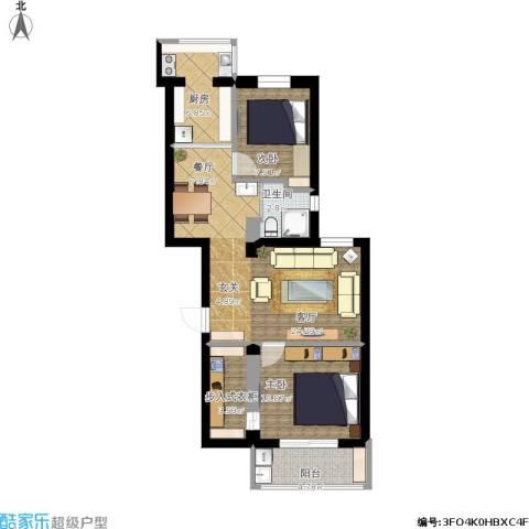 聚福园2室1厅1卫1厨91.00㎡户型图