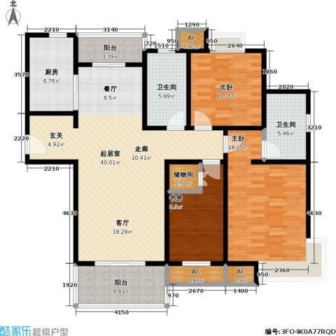 石湖华城三期 华城豪庭3室0厅2卫1厨127.00㎡户型图