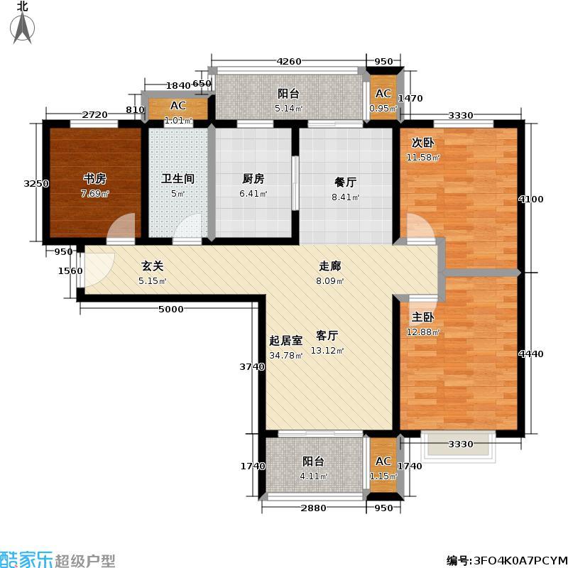 石湖华城三期华城豪庭104.84㎡G3-E标准层户型