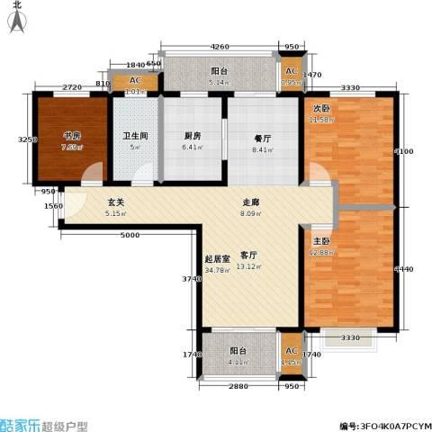 石湖华城三期 华城豪庭3室0厅1卫1厨105.00㎡户型图