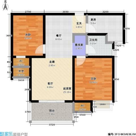 石湖华城三期 华城豪庭2室0厅1卫1厨74.00㎡户型图