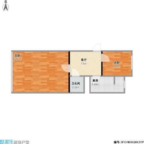 磨房北里2室1厅1卫1厨60.00㎡户型图