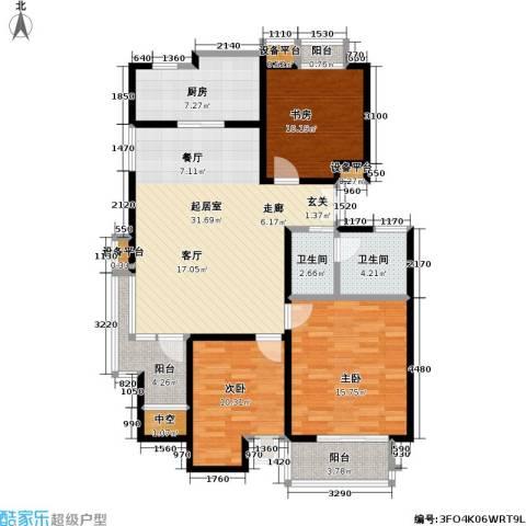 美达浅草明苑3室0厅2卫1厨134.00㎡户型图