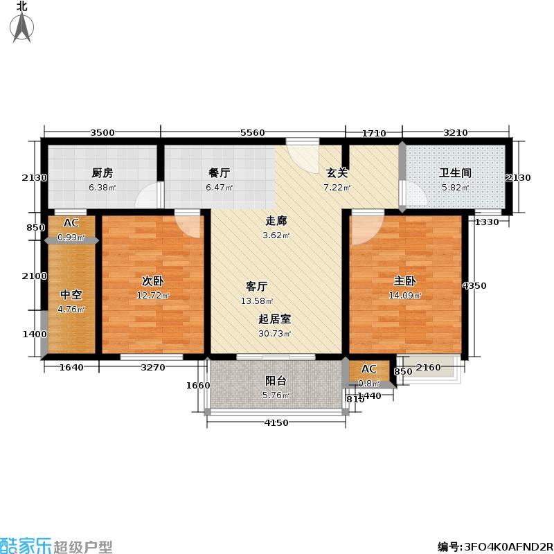石湖华城三期华城豪庭93.54㎡G3-F标准层户型