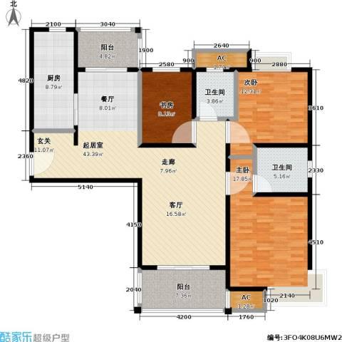 石湖华城三期 华城豪庭3室0厅2卫1厨130.00㎡户型图