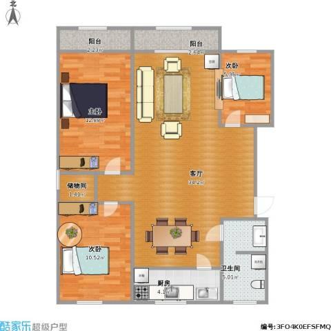 太平洋小区3室1厅1卫1厨106.00㎡户型图