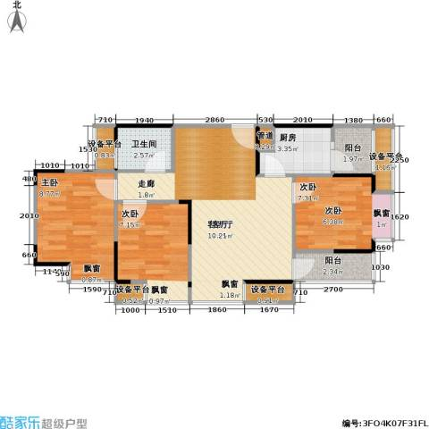 华宇・金沙港湾3室1厅1卫1厨79.00㎡户型图