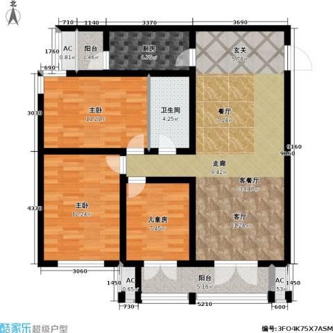 天津和平时光3室1厅1卫1厨117.00㎡户型图