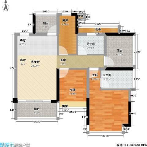 莱蒙水榭春天2室1厅2卫1厨88.00㎡户型图