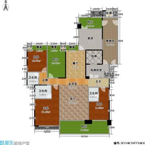 光大锦绣山河四期观园3室0厅3卫1厨216.67㎡户型图