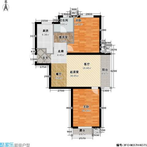 万科魅力之城2室0厅1卫1厨88.00㎡户型图