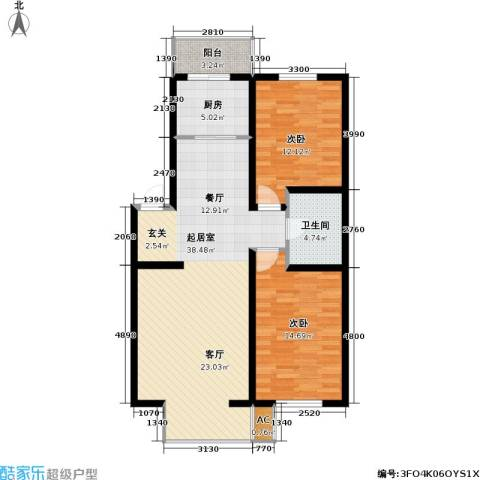 恒泰骏景2室0厅1卫1厨112.00㎡户型图