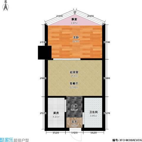 军城・港湾1室0厅1卫1厨38.00㎡户型图