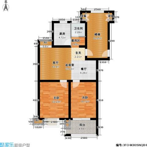 爱涛艺郡临枫2室0厅1卫1厨73.86㎡户型图