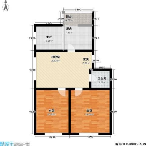 宏伟金都四期2室1厅1卫1厨78.80㎡户型图