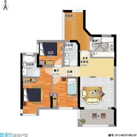 汇龙湾花园3室1厅2卫1厨116.00㎡户型图