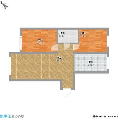 明光水岸2室1厅1卫1厨114.00㎡户型图