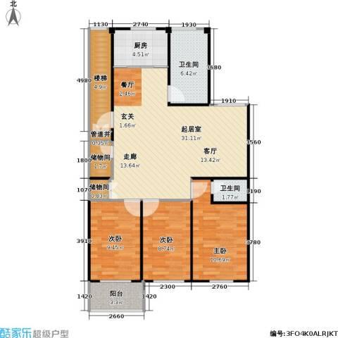 龙海-新加坡花园城3室0厅2卫1厨91.00㎡户型图