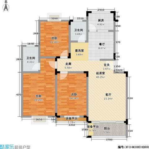 龙居山庄3室0厅2卫1厨129.00㎡户型图
