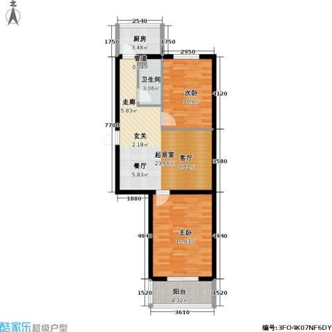 环宇绿洲2室0厅1卫1厨74.00㎡户型图