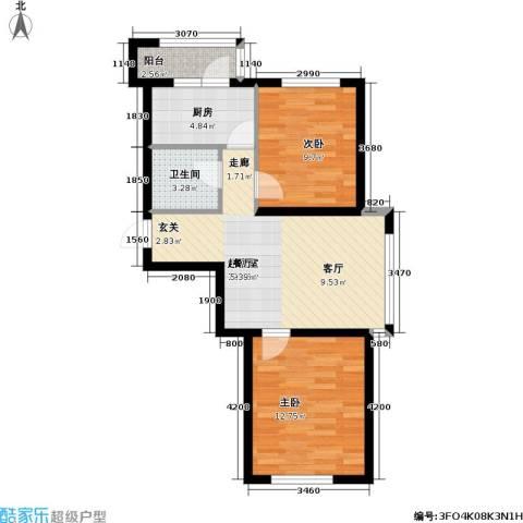 惠和经典2室0厅1卫1厨76.00㎡户型图