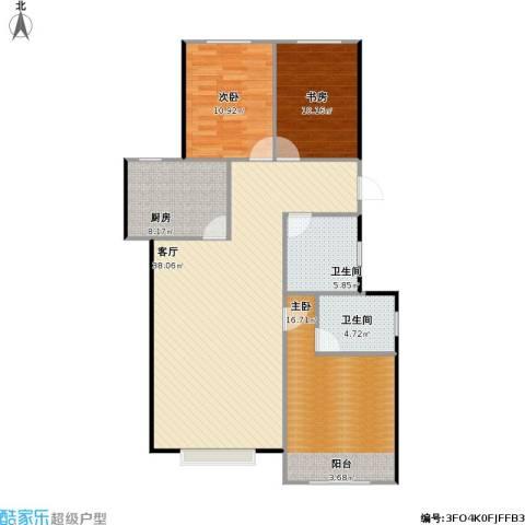 锦华名苑3室1厅2卫1厨126.00㎡户型图