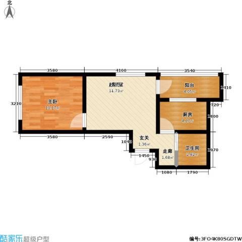 新里摩尔公馆1室0厅1卫1厨49.00㎡户型图