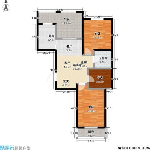 新里摩尔公馆3室0厅1卫1厨142.00㎡户型图
