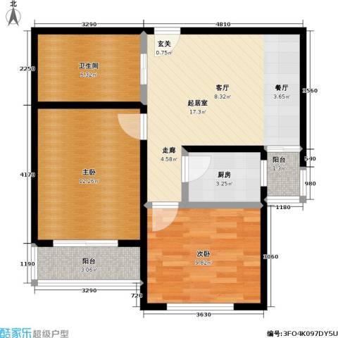新里摩尔公馆2室0厅1卫1厨70.00㎡户型图