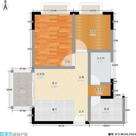 裕康时尚名居2室0厅1卫1厨68.00㎡户型图