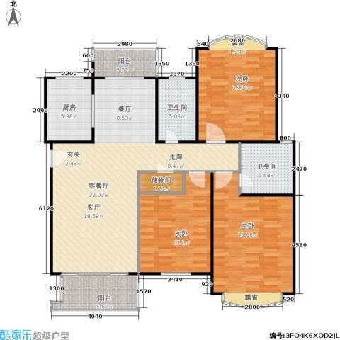 云润家园一期3室1厅2卫1厨120.00㎡户型图