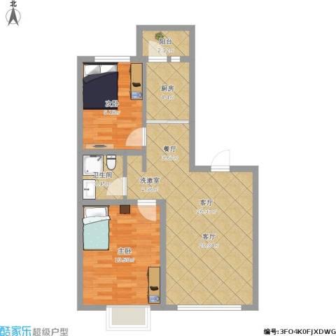 格兰云天2室1厅1卫1厨84.00㎡户型图