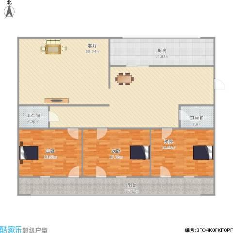 金山花园3室1厅2卫1厨210.00㎡户型图
