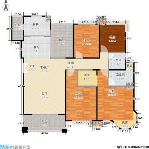 中海湖滨一号4室1厅2卫1厨158.00㎡户型图
