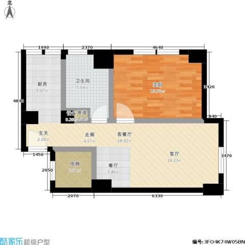 沸腾CBD1室1厅1卫0厨62.00㎡户型图