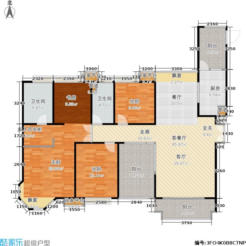 中海湖滨一号158.00㎡房型户型