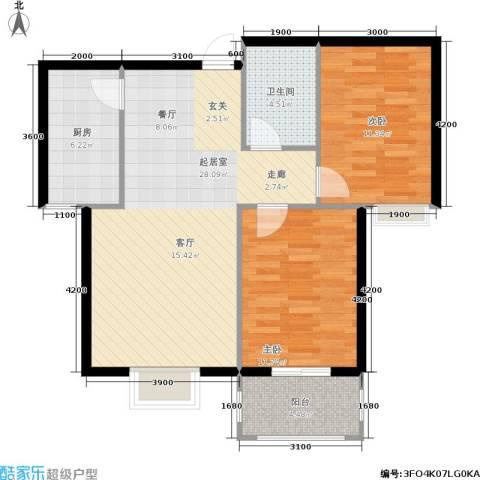 花溪里2室0厅1卫1厨90.00㎡户型图