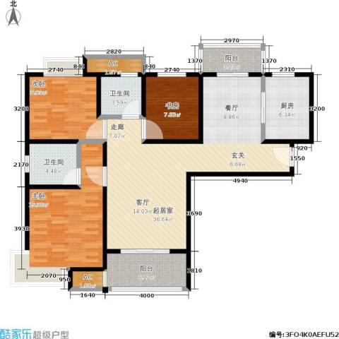 石湖华城三期 华城豪庭3室0厅2卫1厨115.00㎡户型图