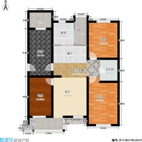 鑫宁家园3室1厅1卫1厨113.00㎡户型图
