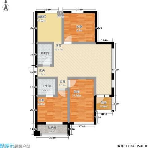 万晟宜家大院二期3室0厅2卫0厨114.00㎡户型图