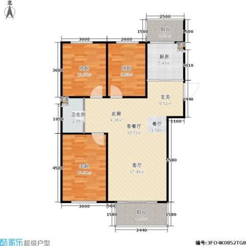 东大智慧森邻3室1厅1卫1厨95.00㎡户型图