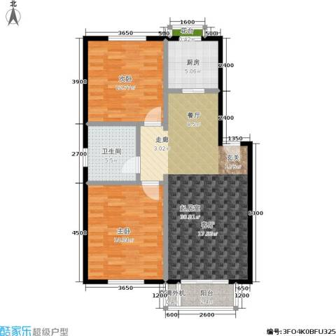 三鑫・顺德园2室0厅1卫1厨90.00㎡户型图
