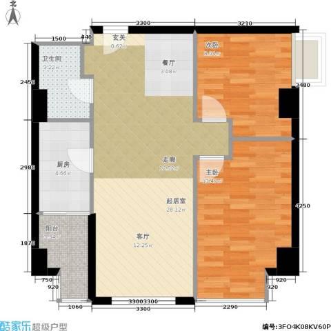 龙湖MOCO国际2室0厅1卫1厨87.00㎡户型图
