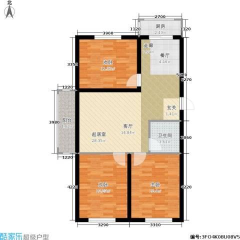 新水湾河畔花园3室0厅1卫1厨95.00㎡户型图