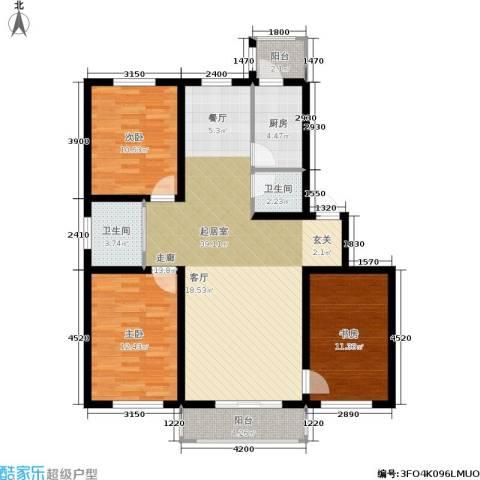 新水湾河畔花园3室0厅2卫1厨116.00㎡户型图