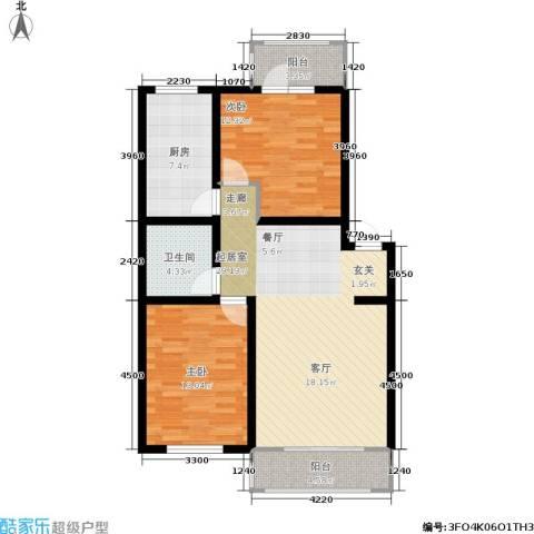 新水湾河畔花园2室0厅1卫1厨95.00㎡户型图
