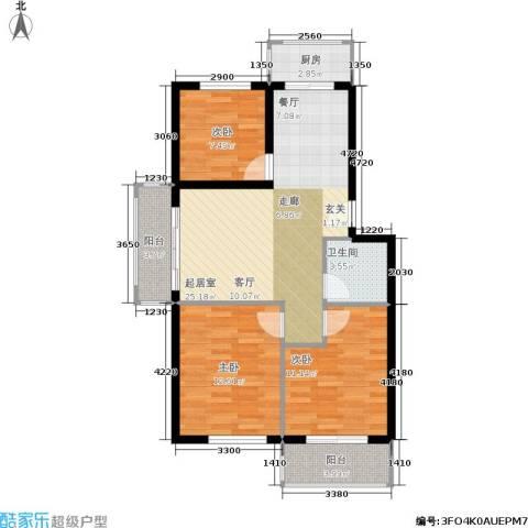 新水湾河畔花园3室0厅1卫1厨91.00㎡户型图