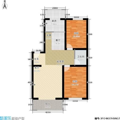 新水湾河畔花园2室0厅1卫1厨94.00㎡户型图