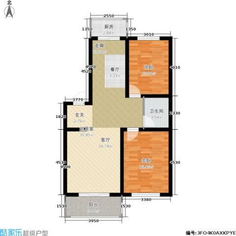 新水湾河畔花园2室0厅1卫1厨90.00㎡户型图