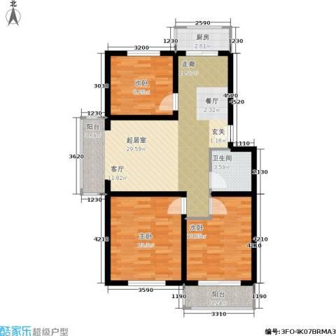 新水湾河畔花园3室0厅1卫1厨94.00㎡户型图